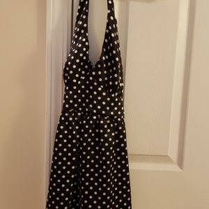 Black and white polka dot halter